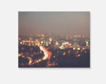 Los Angeles canvas wrap, bokeh photography, abstract colorful rainbow black modern home decor urban landscape LA at night photo gallery wrap