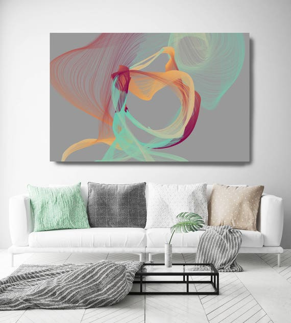 "Color Breeze 67-2. Abstract New Media Art, Wall Decor, Extra Large Abstract Gray Teal Yellow Canvas Art Print up to 72"" Irena Orlov"