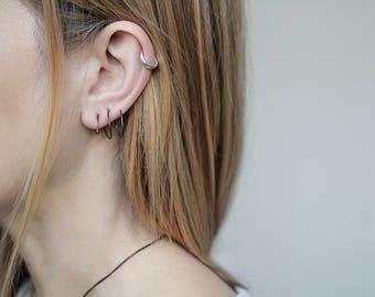 Silver spiral earring, black Earrings, single earring, double piercing earring, single unique earrings, double hoop earrings, spiral earring