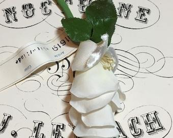 Vintage velvet and silk millinery cream flower