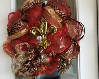 Deco Mesh Wreath Fleur De Lis Cross Door Wreath Southern