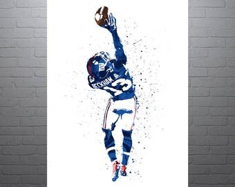 Odell Beckham Jr, The Catch, New York Giants Sports Art Print, Football Poster, Kids Decor, Watercolor Abstract Drawing Print, Modern Art