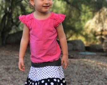Black and White Twirl Skirt, Toddler Skirt, Girls Skirts, Polka Dot Skirt, Little Girl Skirts, Toddler Clothing, Girls Clothing