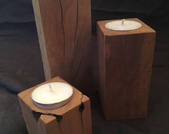 Reclaimed Wood Candle Holder Candleholder Teacandle Peroba Rosa Set Of 3 Tea Rustic One of a Kind Tropical Hardwood