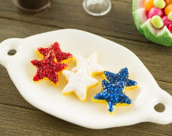 Made to Order Miniature Red White and Blue Star Cookies - 1:12 Dollhouse Miniature