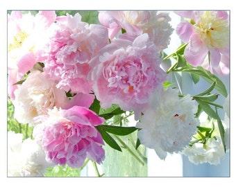 Peony Card,  Photo Card, Blank Flower Greeting Card, Pink Peony