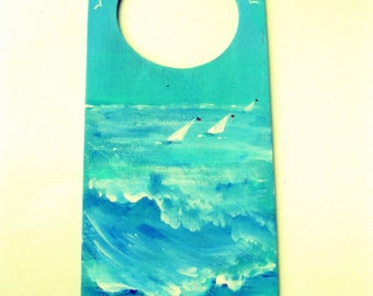Painted Door Hanger, Wind, Waves, Surf and Boats, Nautical Decor, Beach House, Lake Cottage Door Hanger, by gardenstones on etsy