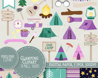 Glamping Clipart Set, 30 PNGs, 5 Glamping Digital Paper JPGs, Commercial Use, Girly camping site clipart, pink campground, camp fire clipart