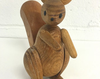 Schooline 1957 Wood Squirrel Articulated Danish Modern Vintage Zooline Style Kay Bojesen Inspired Wooden Animal