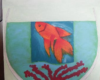 Small painting the goldfish