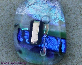 Dichroic Glass Cabochon - Fantastic Homemade Rectangular Multicolored Cabochon by JewelryArtistry - DC313