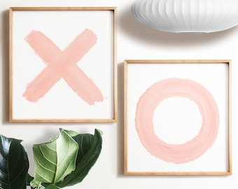 X and O prints, Pink wall art, PRINTABLE, Wall art, Modern Minimalist print, Modern art, Minimalist Art, Brushstroke Art, Contemporary Art