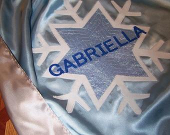 Snowflake Superhero Cape Ice Queen Frozen Cape Custom Super Reversible Washable Satin Silver Light Blue Personalized  Initial Name