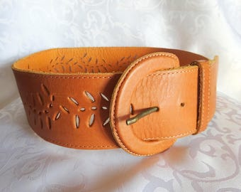 Brown leather belt Leather belt Vintage belt Womens leather belt Waist belt Hippie belt Vintage leather belt Brown leather Boho belt Gift