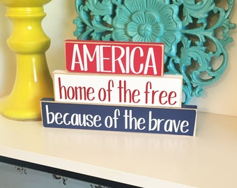 America Stackers- 4th of July, Independence Day,  Americana Decor, Fourth of July Decor, Summer Decor, USA Decor, America Sign