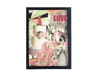 Love is Chaos Original Pink Roses Floral Collage 5x7 Mixed Media Art Framed Black and White Home Decor Vinyl Record Cover