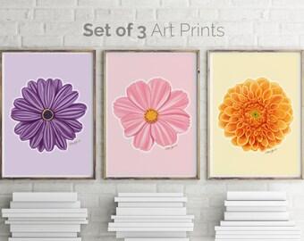 Flower Print, Flower Wall Art, Botanical Print, Floral Print, Living Room Wall Art, Kitchen Decor, Flower Art, Set of 3, Flower Poster