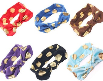 Headband with gold polka dots 7 color spandex