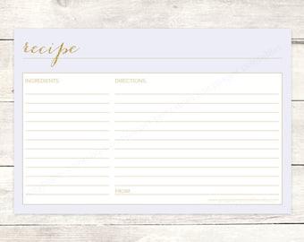 recipe card bridal shower printable DIY lavender purple gold glitter wedding shower shower digital accessories - INSTANT DOWNLOAD