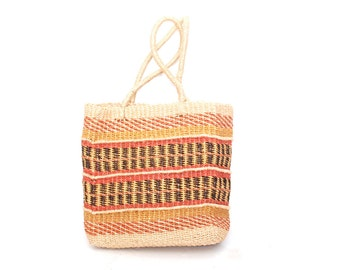 SISAL woven 70s JUTE bucket TOTE purse bag