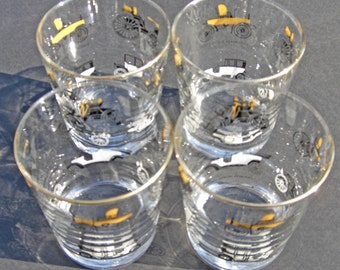 Libbey Glass - Antique Auto Horseless Carriage Black Gold and White - Lo Ball Manhattan Glasses - Set of 4