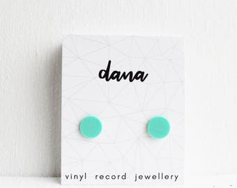 turquoise studs gift idea for record collector everyday studs unisex studs 10mm studs recycled studs simple stud earrings fake gauges