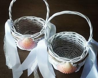 Beach Wedding Flower Girl Basket, Flower Girl Basket. Seashell Flower Girl Basket. Rustic Flower Girl Basket, Beach Wedding