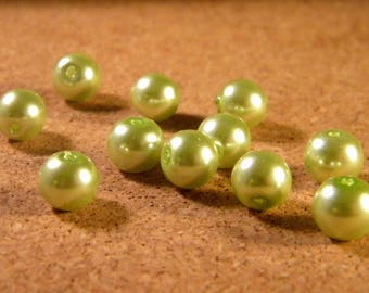 50 glass Pearl 8 mm - seagreen - AP14 iridescent beads