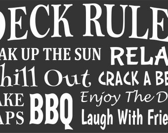 DECK RULES 11 x 18 Stencil - Create a great sign for your deck!