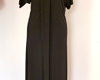Black dress with detail down the front/Jersey fabric/wrinkle free/comfortable dress by Cheryl Johnston