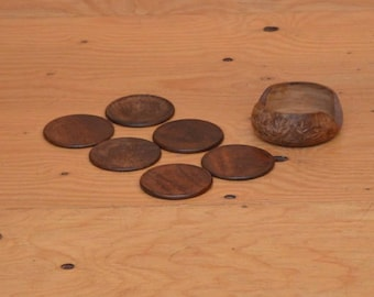 Vintage Earthy Wooden 70's Set Of Floral Carved Coasters