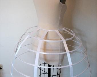 White satin hoop cage skirt boning vintage show victorian crinoline burlesque boudoir goth