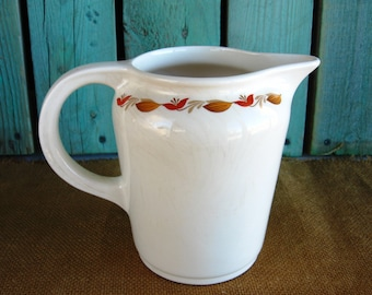 UNIVERSAL CAMBRIDGE Pitcher Vintage Milk Pitcher Water Pitcher National Brotherhood Operative Potters Flower and Leaf Motif Vintage Pitcher