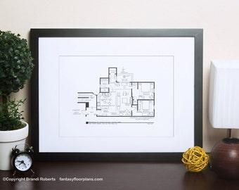 Friends Floor Plan - TV Show Floor Plan - Black and white art for Residence of Monica Geller & Rachel Green **Featured on NBC's Today Show