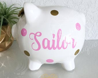 Girls Valentines day gift, V-day, Light Pink Piggy Bank, Personalized Piggy Bank, Custom Made, Personalize Bank, Baby Girl Bank, Pink Bank,