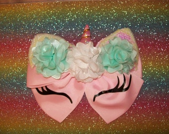 Unicorn Hair Bow - large double bow with ponytail elastic on back - Light Pink