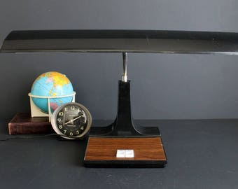 Vintage Desk Lamp Retro Fluorescent Black with Faux Wood Grain Accents