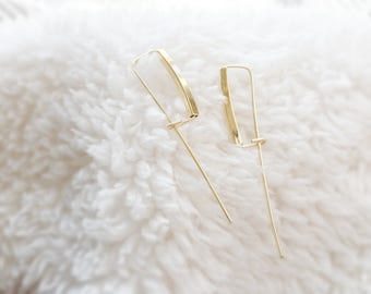 Hailey (sleeper earrings) - 14k Gold Filled ear threads with 14k gold plated square tube