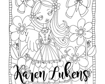 Sweetheart Angel, 1 Adult Coloring Book Page, Printable Instant Download