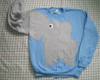 Blue Elephant sweater, Trunk sleeve, elephant sweatshirt, jumper adult size Small, medium, large or xlarge, cosplay, costume, halloween
