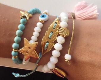 Turquoise Beaded Bracelets. Turquoise Bracelets, Evil Eye Bracelet, Women's Bracelet, White Bracelet, Tassel Bracelet, Leaf Bracelet