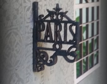 Miniature Dollhouse Replica of a Wrought Iron Paris sign for exterior or interior accent 1:12 Scale