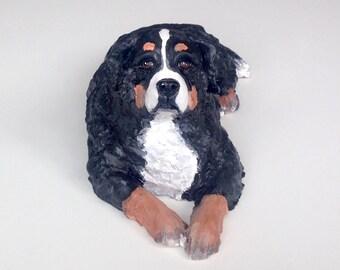 Bernese Dog, Pet Memorial, Clay Sculpture, Bernese Statue, Pet Portrait, Dog Memorial, Custom Dog Sculpture, English Bulldog Statue