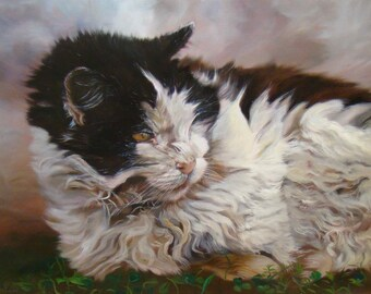 Wild and free, portrait of a black and white ragdoll cat, original oil painting by Anne Zamo