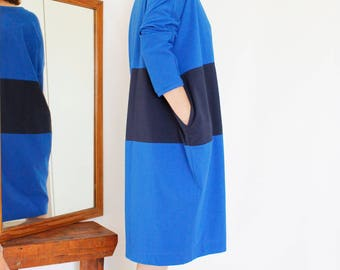 Organic Women's Clothing Women Dress Organic Long Sleeve Dress Minimalist Dress Blue Oversized Cotton Dress Jersey Dress Loose Fit Dress