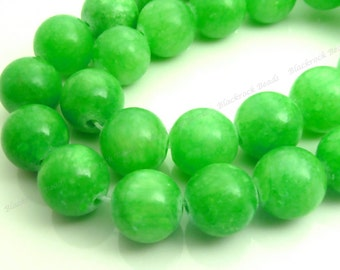 10mm Lime Green Mashan Jade Round Gemstone Beads - 16 Inch Strand - BC19