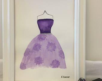 Lilac & purple evening dress