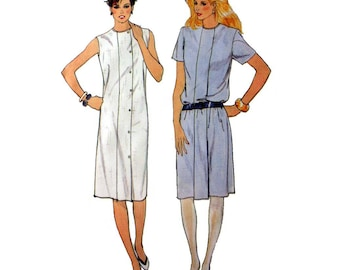 """Women's Shift Dress Sewing Pattern, Sleeveless or Short Sleeves Misses Size 10 Bust 32 1/2"""" Uncut Fast and Easy Butterick 4911"""