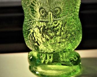Vintage Vaseline Glass Owl Toothpick Holder/Collectible