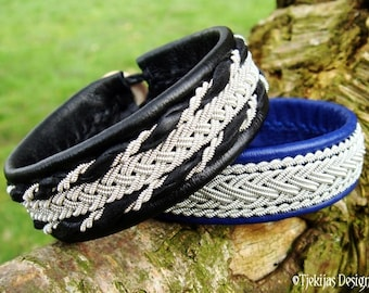 Viking Bracelet Cuff in Swedish Sami style, SEIDR in Black Reindeer Leather and Pewter Braids, Nordic Handmade Design